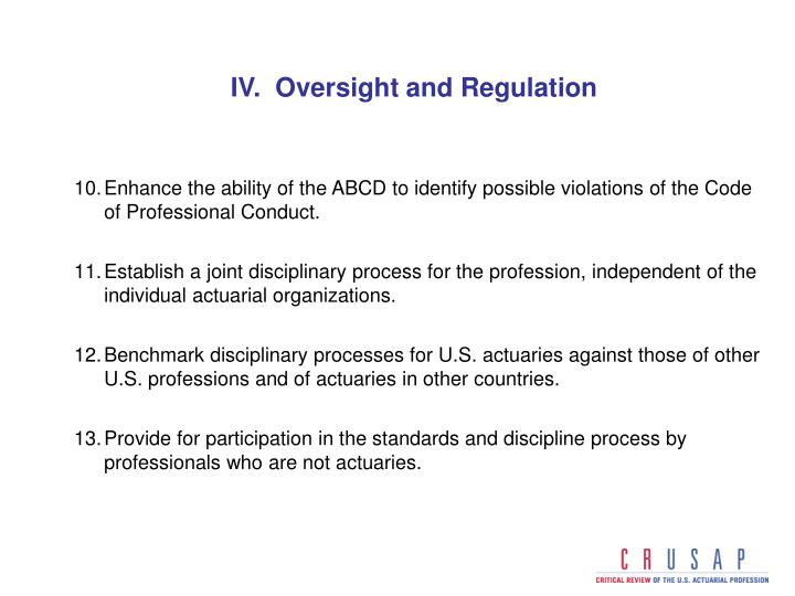 IV.  Oversight and Regulation
