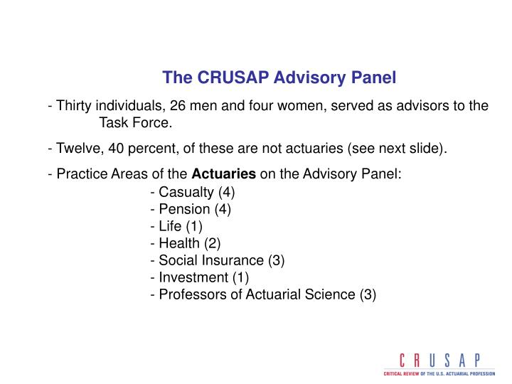 The CRUSAP Advisory Panel