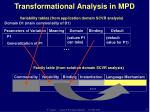 transformational analysis in mpd