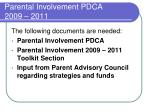 parental involvement pdca 2009 20112
