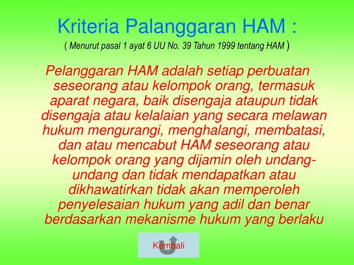 Kriteria Palanggaran HAM :