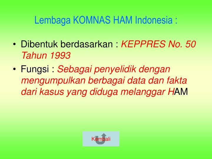 Lembaga KOMNAS HAM Indonesia :