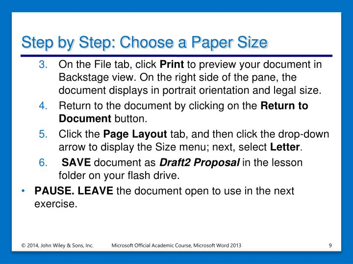Step by Step: Choose a Paper Size
