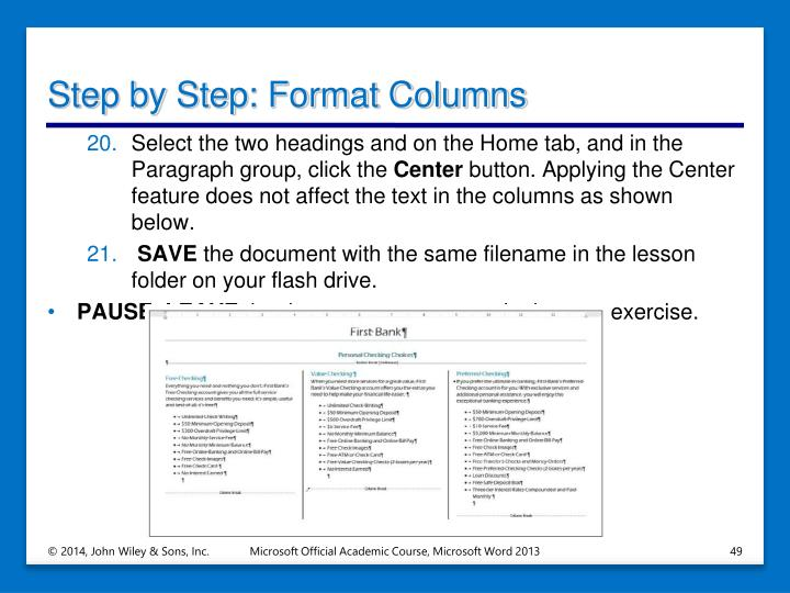 Step by Step: Format Columns