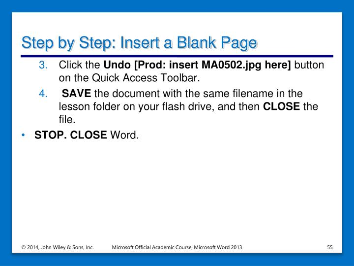 Step by Step: Insert a Blank Page