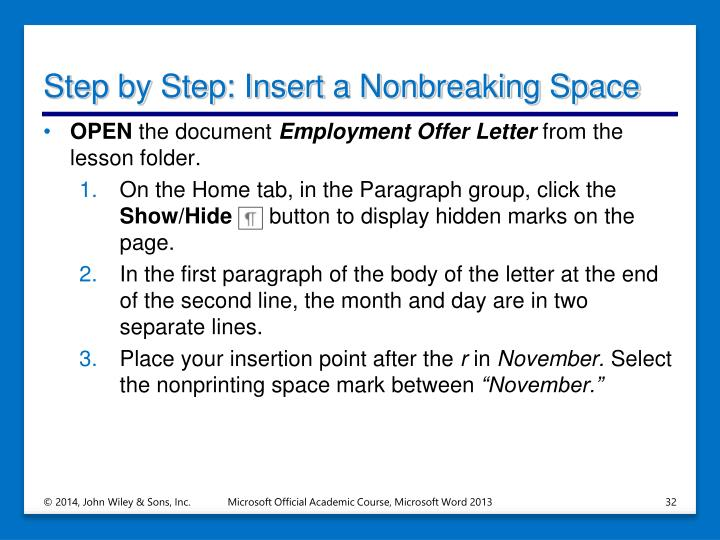 Step by Step: Insert a Nonbreaking Space
