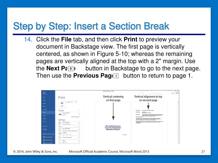 Step by Step: Insert a Section Break