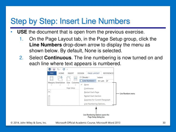 Step by Step: Insert Line Numbers