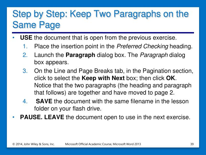 Step by Step: Keep Two Paragraphs on the Same Page