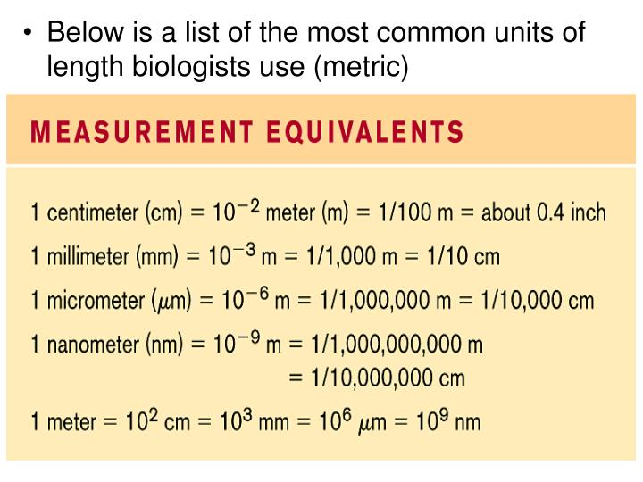 Below is a list of the most common units of length biologists use (metric)
