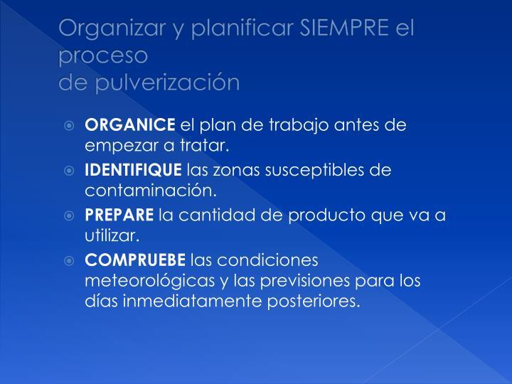 Organizar y planificar SIEMPRE el proceso
