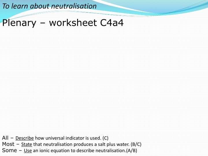 To learn about neutralisation