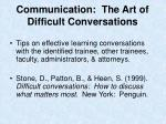communication the art of difficult conversations