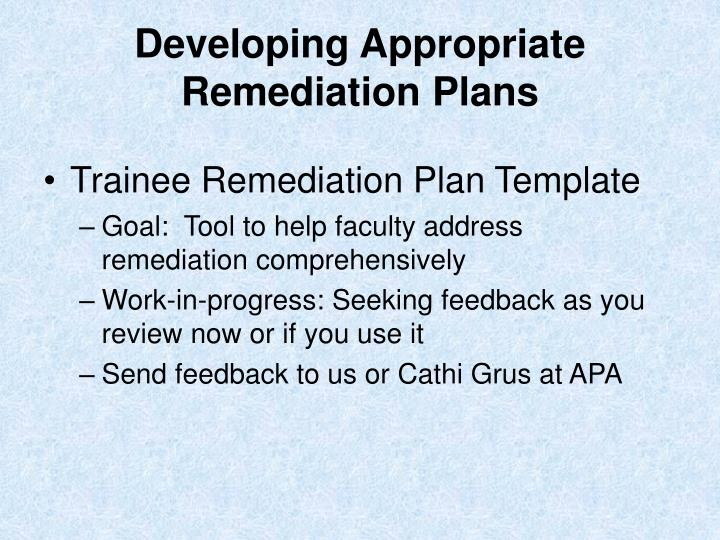 Developing Appropriate Remediation Plans