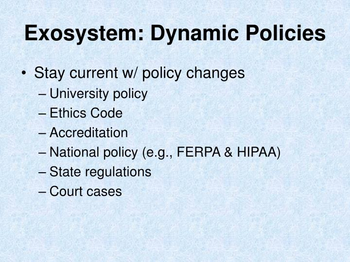 Exosystem: Dynamic Policies