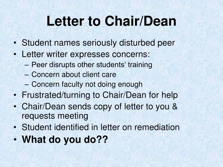 Letter to Chair/Dean