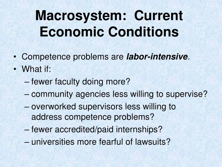 Macrosystem:  Current Economic Conditions