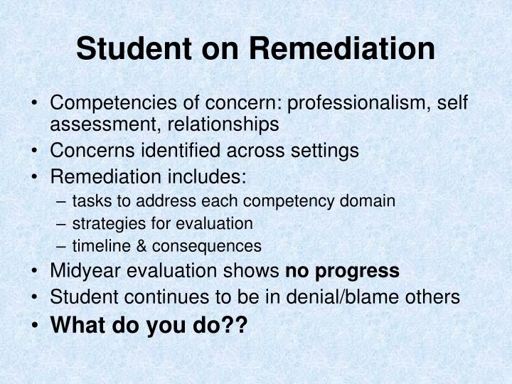 Student on Remediation