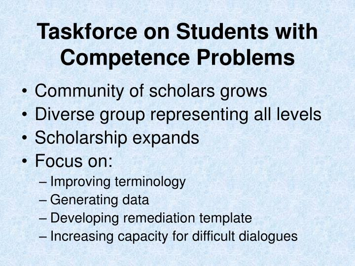 Taskforce on Students with Competence Problems