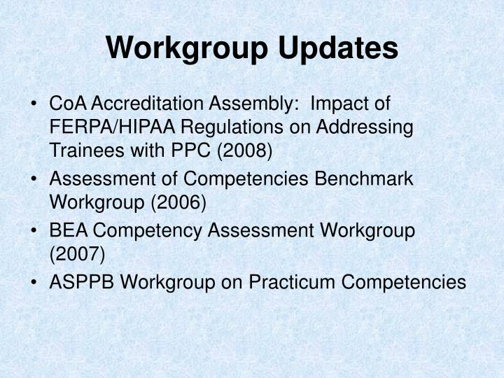 Workgroup Updates