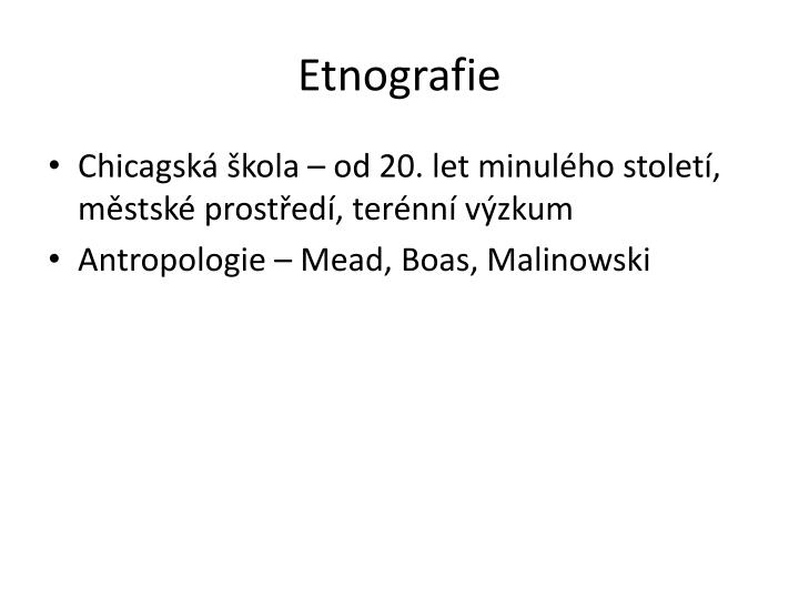 Etnografie