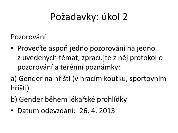 Požadavky: úkol 2