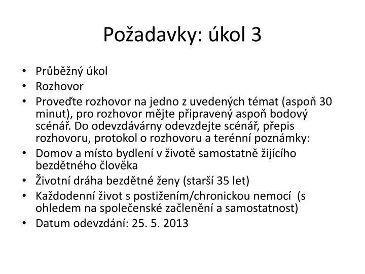 Požadavky: úkol 3