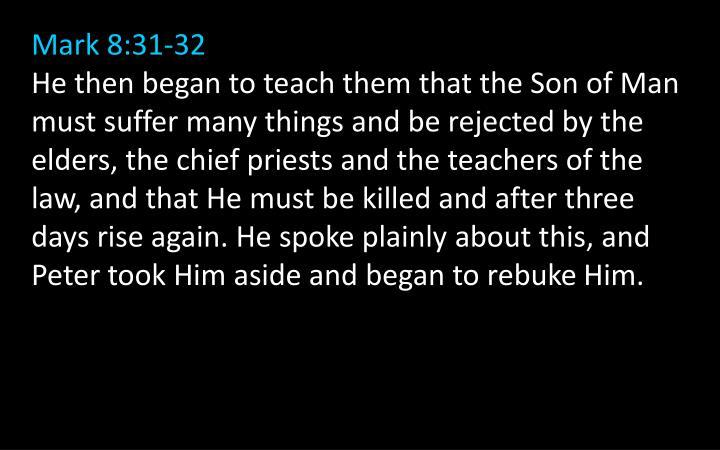 Mark 8:31-32