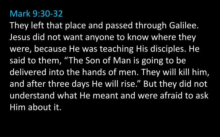 Mark 9:30-32