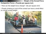 weight of the screed force1