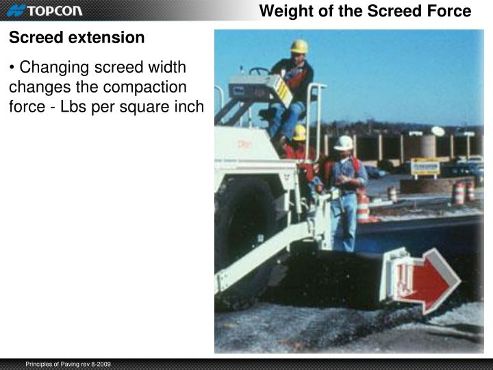 Weight of the Screed Force