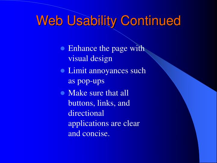 Web Usability Continued