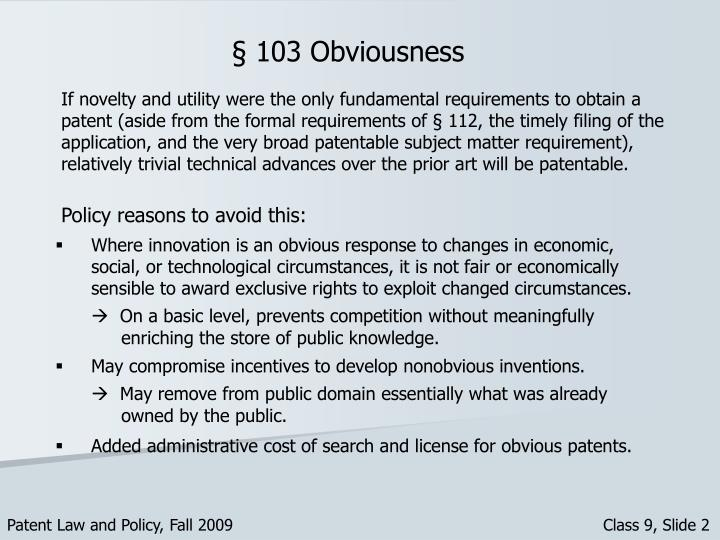 § 103 Obviousness