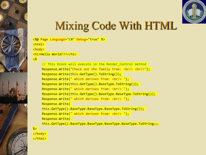 Mixing Code With HTML