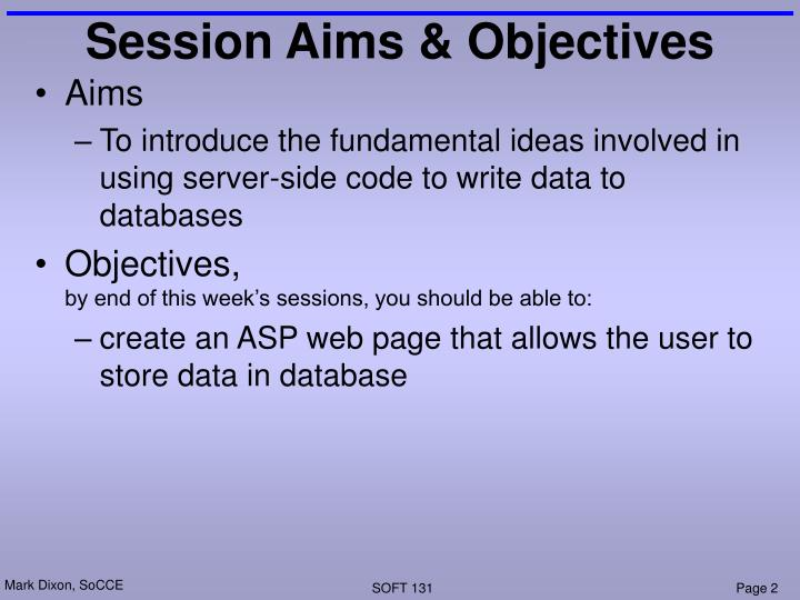 Session Aims & Objectives