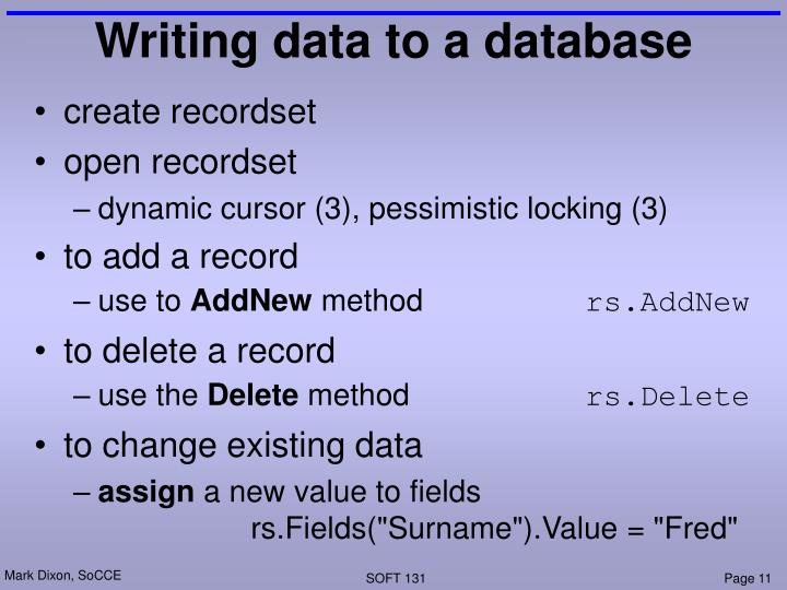 Writing data to a database