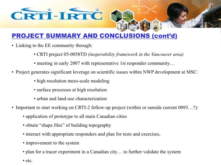 PROJECT SUMMARY AND CONCLUSIONS (cont'd)