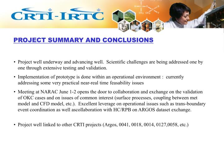 PROJECT SUMMARY AND CONCLUSIONS