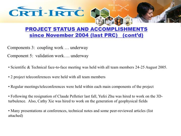PROJECT STATUS AND ACCOMPLISHMENTS