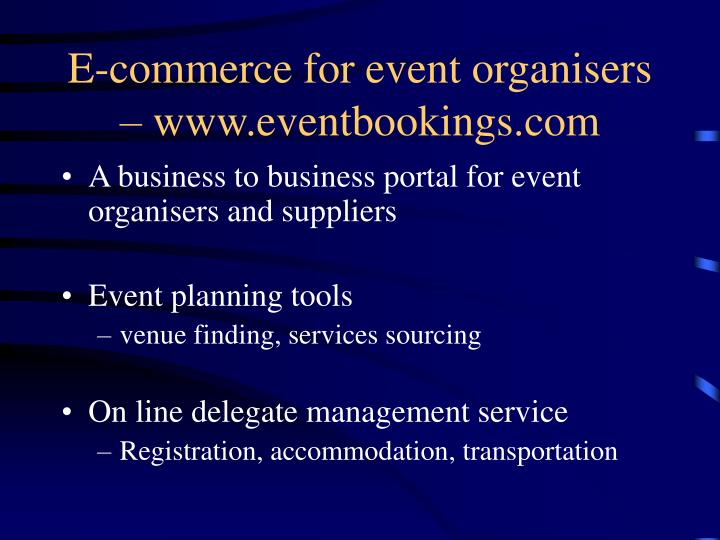 E-commerce for event organisers – www.eventbookings.com