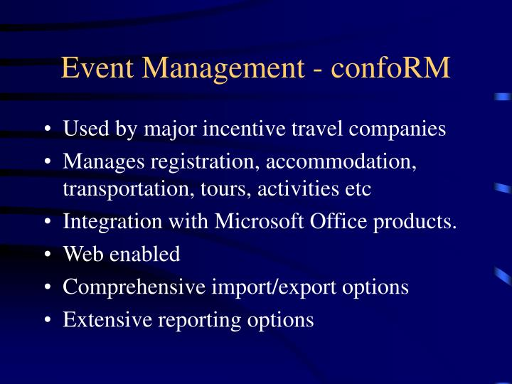 Event Management - confoRM