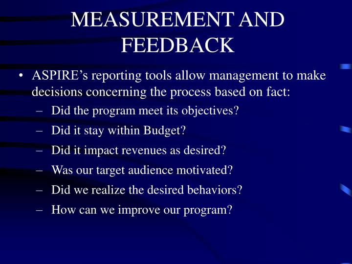 MEASUREMENT AND FEEDBACK