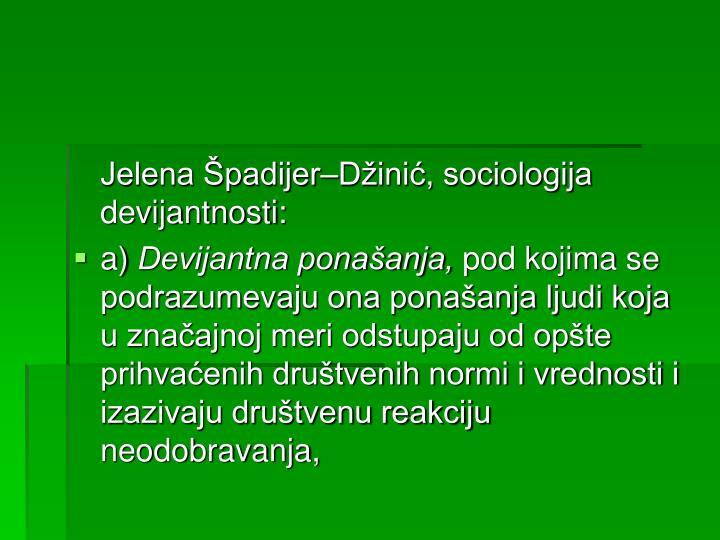 Jelena Špadijer–Džinić, sociologija devijantnosti: