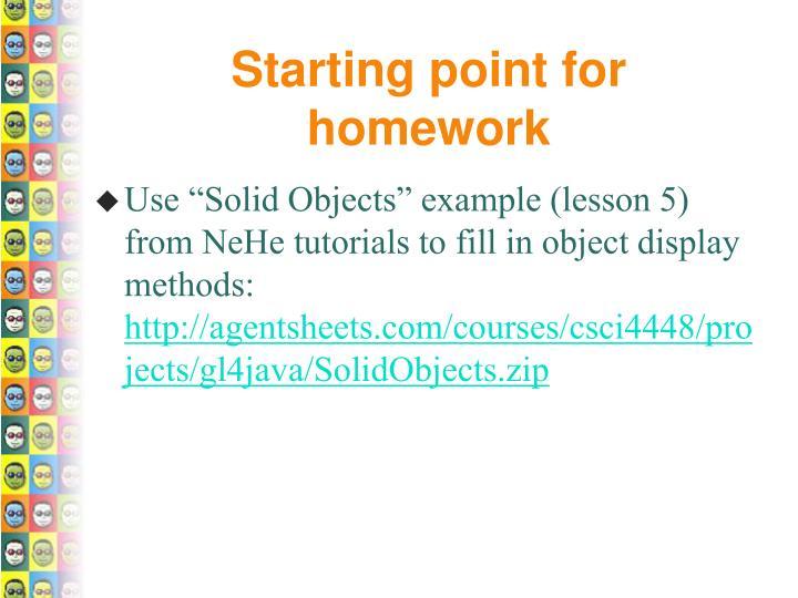 Starting point for homework