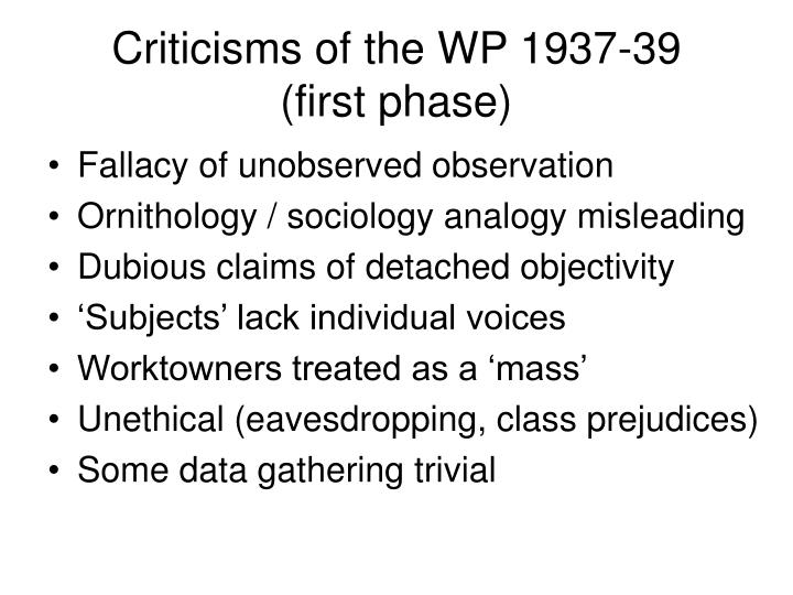 Criticisms of the WP 1937-39    (first phase)