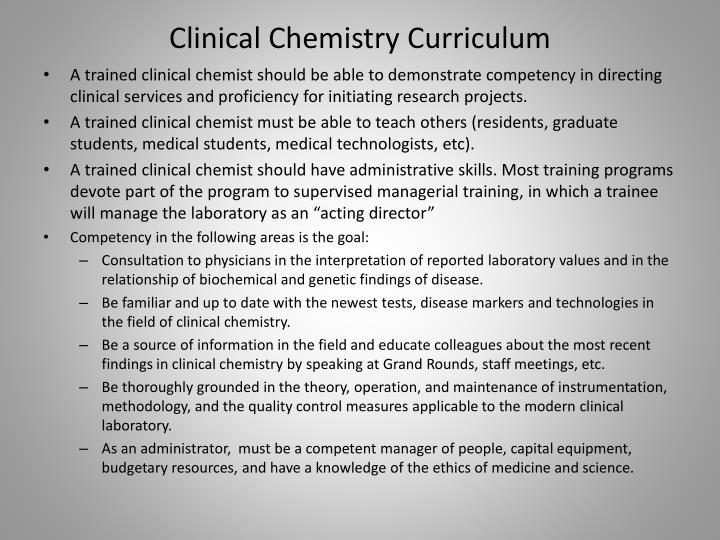 Clinical Chemistry Curriculum