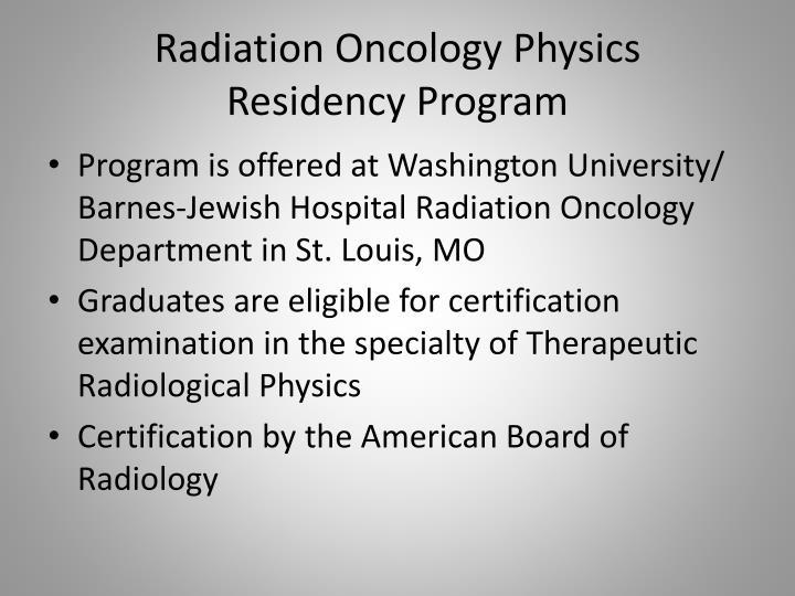Radiation Oncology Physics