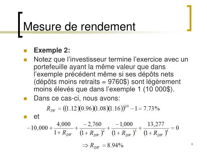 Mesure de rendement