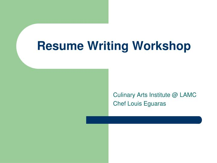 Resume Writing Powerpoint Presentation
