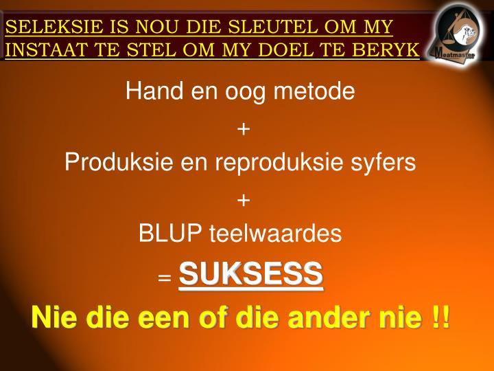 SELEKSIE IS NOU DIE SLEUTEL OM MY INSTAAT TE STEL OM MY DOEL TE BERYK